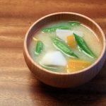 里芋といんげんのお味噌汁