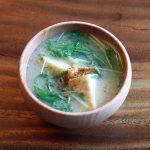 厚揚げと水菜のお味噌汁