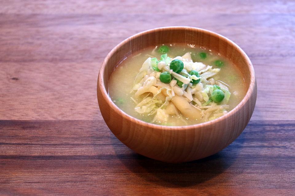 ぶんどう豆入りのお味噌汁