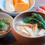 豆腐と春菊のお味噌汁