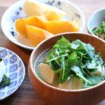 高野豆腐とみつばのお味噌汁