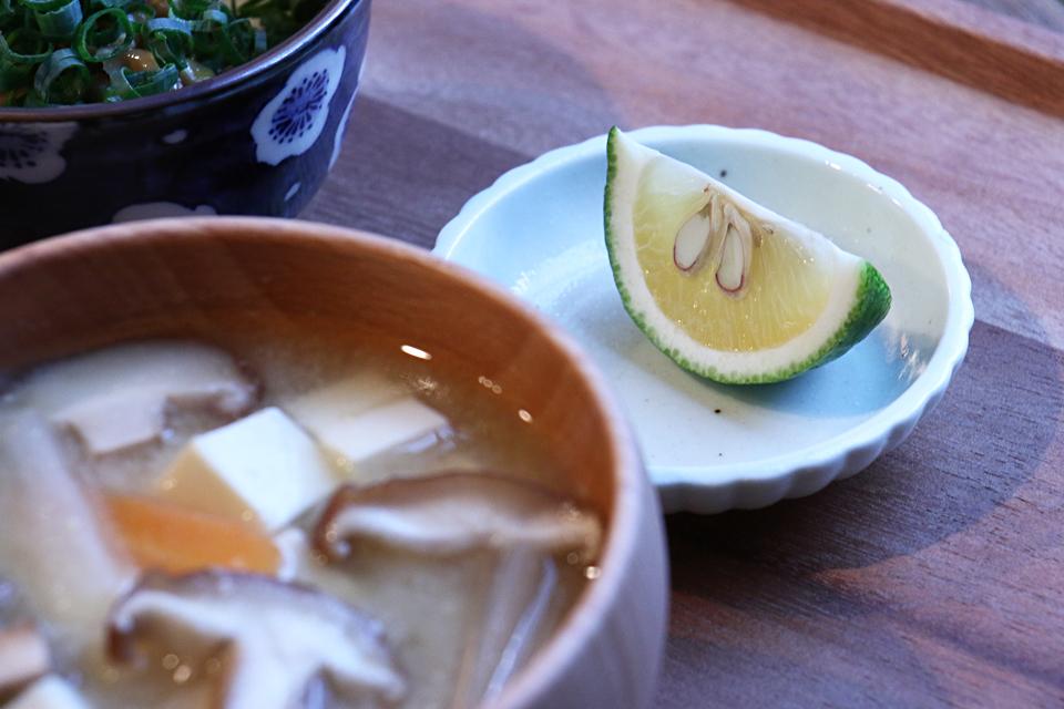 かぼすのお味噌汁