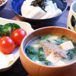 ほうれん草と豆腐のお味噌汁