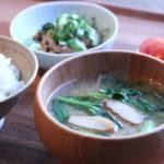 さつま揚げと小松菜のお味噌汁